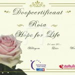 Doop certificaat Roos Hope for Life