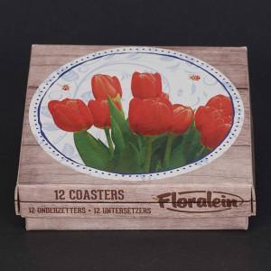 Doos met 12 onderzetters met een bos tulpen, zij aanzicht