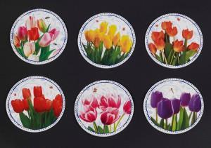 Onderzetters met tulpen bossen afbeelding