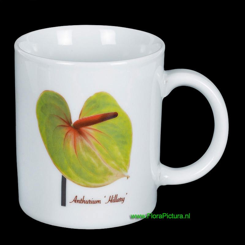 Porseleinen mok met een botanische afbeelding van de Anthurium Hillary
