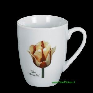 Porseleinen beker, maat Senseo, met een botanische afbeelding van de Tulp Flaming Bird