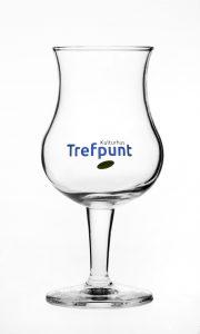 Glas met blauw logo